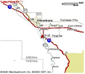 Mapquest Map of Ellensburg Highways